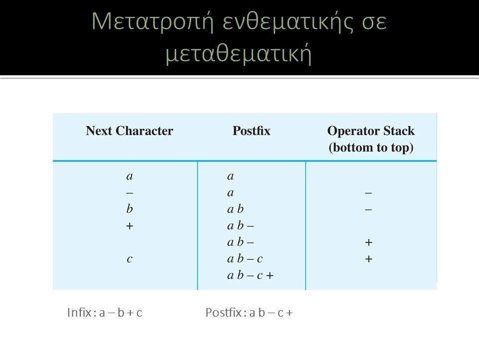 Infix : a – b + c Postfix : a b – c +