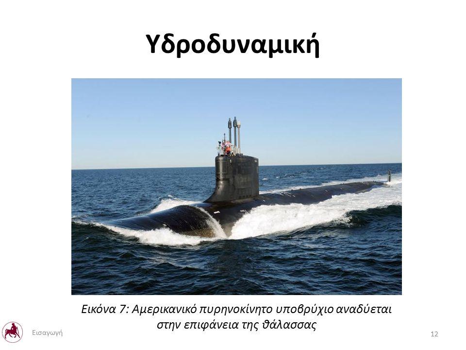 Υδροδυναμική Εικόνα 7: Αμερικανικό πυρηνοκίνητο υποβρύχιο αναδύεται στην επιφάνεια της θάλασσας 12 Εισαγωγή