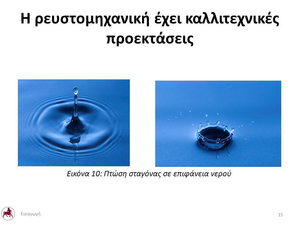 Η ρευστομηχανική έχει καλλιτεχνικές προεκτάσεις Εικόνα 10: Πτώση σταγόνας σε επιφάνεια νερού 15 Εισαγωγή