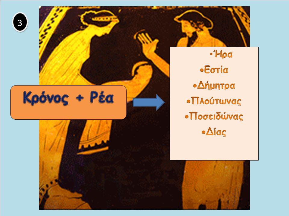 4 4  Ο Κρόνος τρώει τα παιδιά του. Ο Δίας γεννιέται σε μια σπηλιά σε βουνό της Κρήτης.