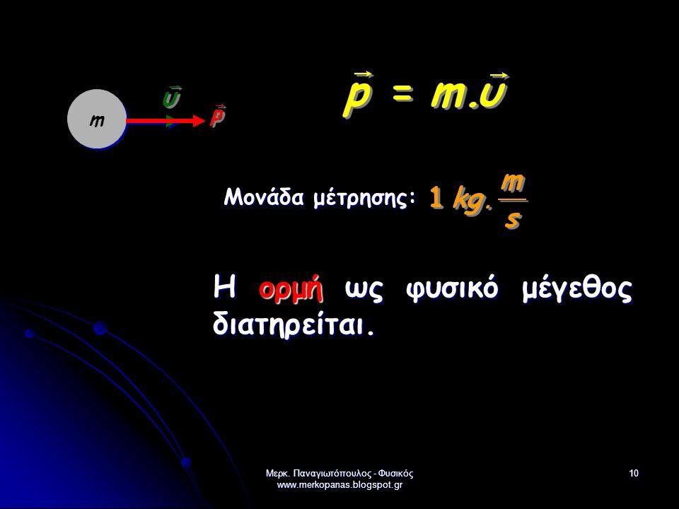 Μερκ. Παναγιωτόπουλος - Φυσικός www.merkopanas.blogspot.gr 10 m Μονάδα μέτρησης: Η ορμή ως φυσικό μέγεθος διατηρείται.