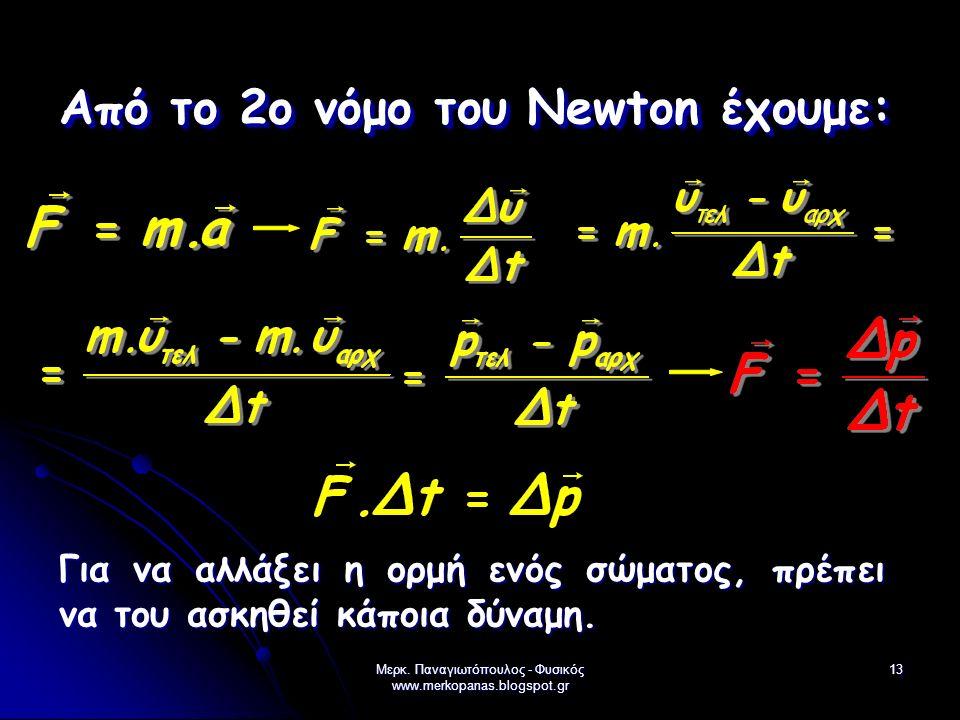 Μερκ. Παναγιωτόπουλος - Φυσικός www.merkopanas.blogspot.gr 13 Από το 2ο νόμο του Newton έχουμε: Για να αλλάξει η ορμή ενός σώματος, πρέπει να του ασκη