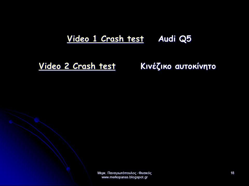 Μερκ. Παναγιωτόπουλος - Φυσικός www.merkopanas.blogspot.gr 18 Video 1 Crash testVideo 1 Crash test Audi Q5 Video 1 Crash test Video 2 Crash testVideo