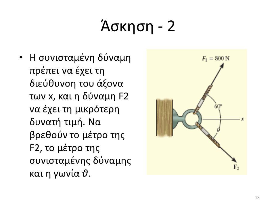 Άσκηση - 2 Η συνισταμένη δύναμη πρέπει να έχει τη διεύθυνση του άξονα των x, και η δύναμη F2 να έχει τη μικρότερη δυνατή τιμή. Να βρεθούν το μέτρο της