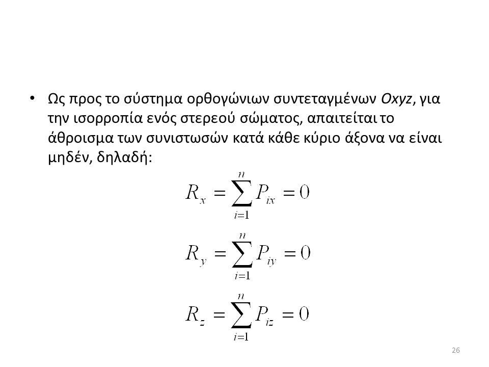 Ως προς το σύστημα ορθογώνιων συντεταγμένων Oxyz, για την ισορροπία ενός στερεού σώματος, απαιτείται το άθροισμα των συνιστωσών κατά κάθε κύριο άξονα