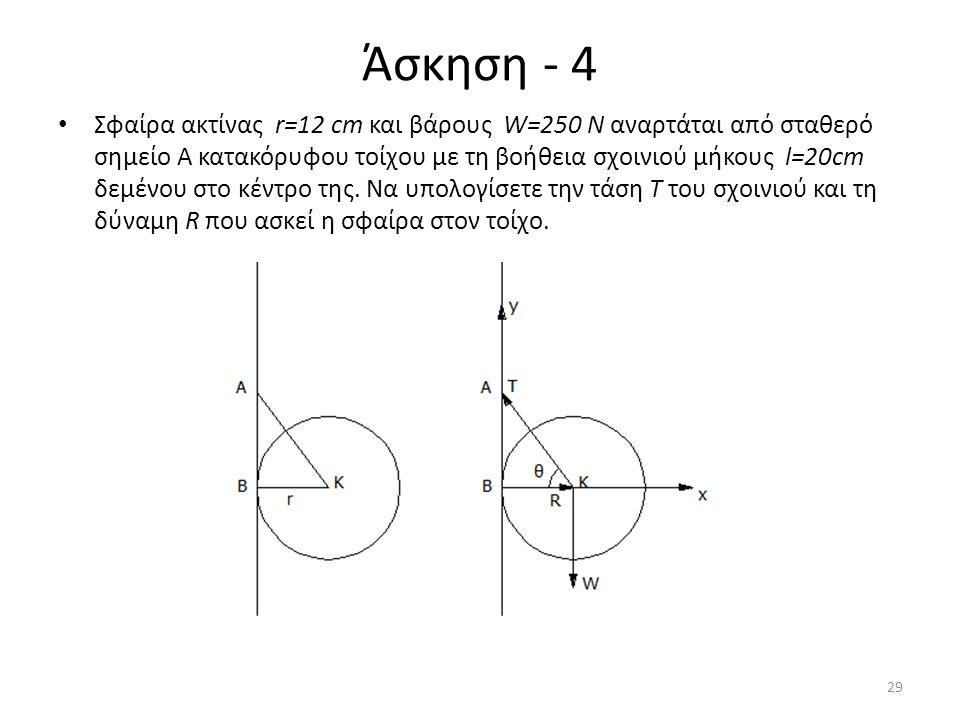 Άσκηση - 4 Σφαίρα ακτίνας r=12 cm και βάρους W=250 N αναρτάται από σταθερό σημείο Α κατακόρυφου τοίχου με τη βοήθεια σχοινιού μήκους l=20cm δεμένου στ