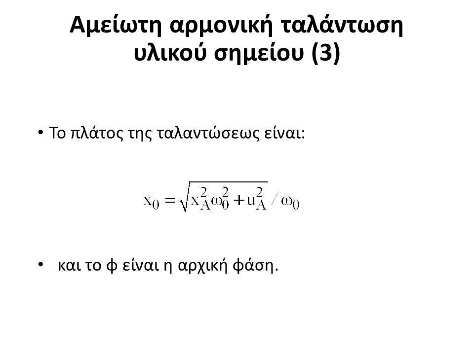 Αμείωτη αρμονική ταλάντωση υλικού σημείου (3) Το πλάτος της ταλαντώσεως είναι: και το φ είναι η αρχική φάση.