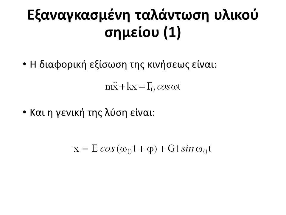 Εξαναγκασμένη ταλάντωση υλικού σημείου (1) Η διαφορική εξίσωση της κινήσεως είναι: Και η γενική της λύση είναι: