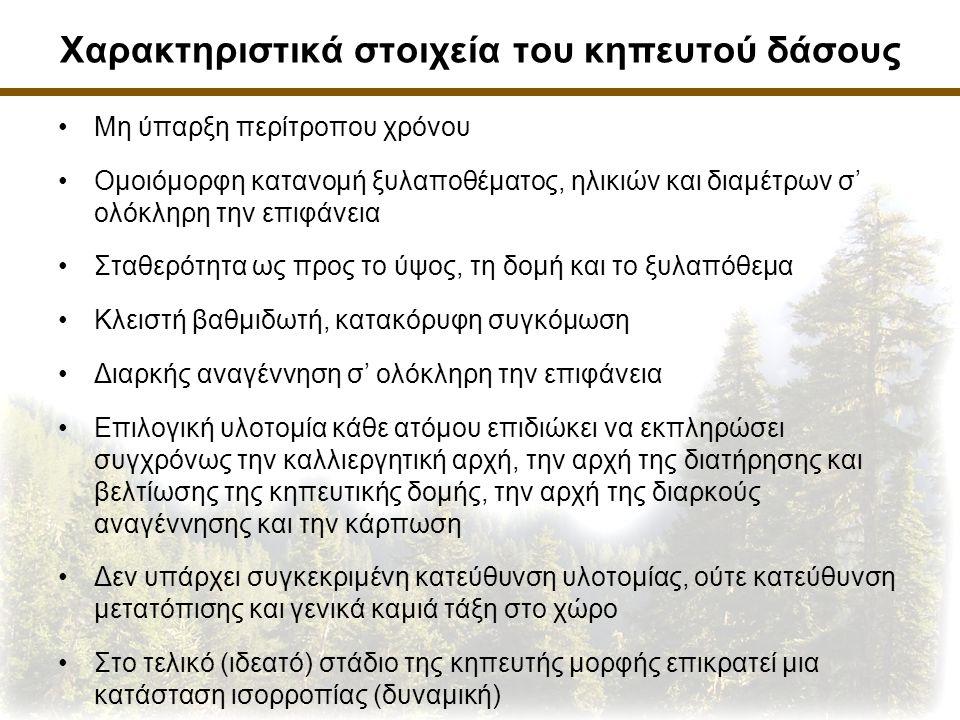 Χαρακτηριστικά στοιχεία του κηπευτού δάσους Μη ύπαρξη περίτροπου χρόνου Ομοιόμορφη κατανομή ξυλαποθέματος, ηλικιών και διαμέτρων σ' ολόκληρη την επιφάνεια Σταθερότητα ως προς το ύψος, τη δομή και το ξυλαπόθεμα Κλειστή βαθμιδωτή, κατακόρυφη συγκόμωση Διαρκής αναγέννηση σ' ολόκληρη την επιφάνεια Επιλογική υλοτομία κάθε ατόμου επιδιώκει να εκπληρώσει συγχρόνως την καλλιεργητική αρχή, την αρχή της διατήρησης και βελτίωσης της κηπευτικής δομής, την αρχή της διαρκούς αναγέννησης και την κάρπωση Δεν υπάρχει συγκεκριμένη κατεύθυνση υλοτομίας, ούτε κατεύθυνση μετατόπισης και γενικά καμιά τάξη στο χώρο Στο τελικό (ιδεατό) στάδιο της κηπευτής μορφής επικρατεί μια κατάσταση ισορροπίας (δυναμική)