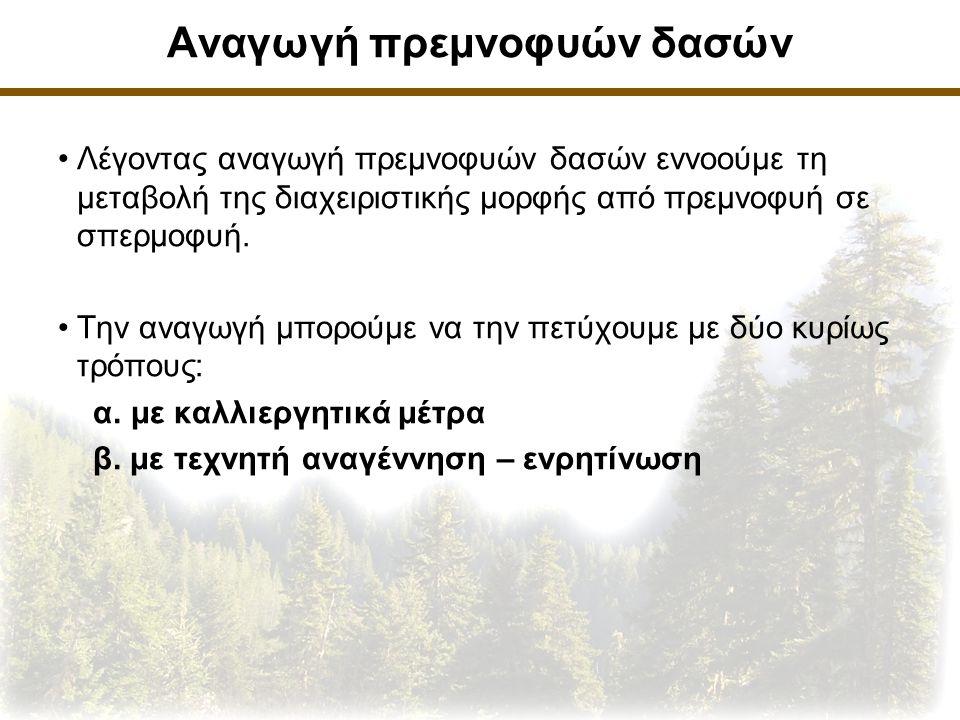 Αναγωγή πρεμνοφυών δασών Λέγοντας αναγωγή πρεμνοφυών δασών εννοούμε τη μεταβολή της διαχειριστικής μορφής από πρεμνοφυή σε σπερμοφυή.