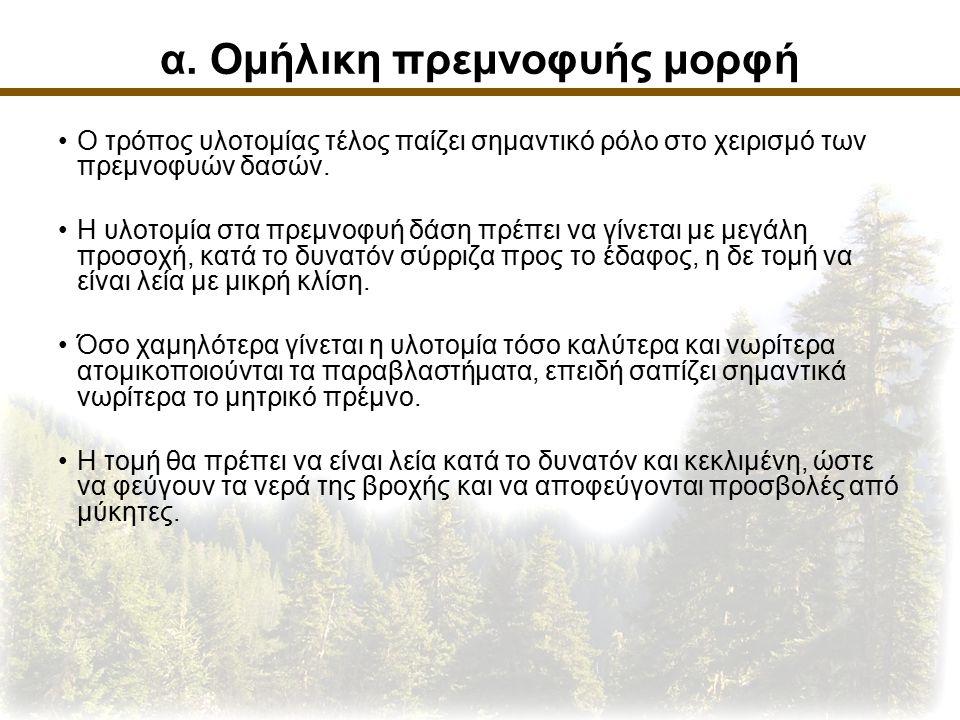 α. Ομήλικη πρεμνοφυής μορφή Ο τρόπος υλοτομίας τέλος παίζει σημαντικό ρόλο στο χειρισμό των πρεμνοφυών δασών. Η υλοτομία στα πρεμνοφυή δάση πρέπει να