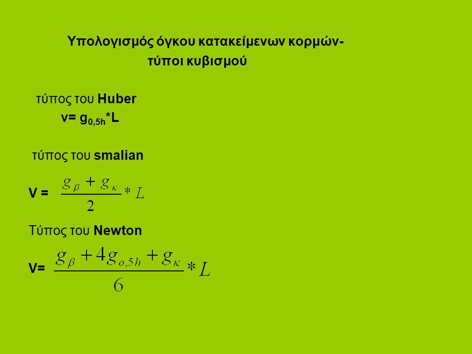 Υπολογισμός όγκου κατακείμενων κορμών- τύποι κυβισμού τύπος του Huber v= g 0,5h *L τύπος του smalian V = Τύπος του Newton V=