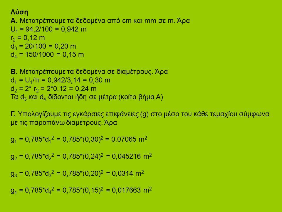 Λύση Α. Μετατρέπουμε τα δεδομένα από cm και mm σε m. Άρα U 1 = 94,2/100 = 0,942 m r 2 = 0,12 m d 3 = 20/100 = 0,20 m d 4 = 150/1000 = 0,15 m Β. Μετατρ