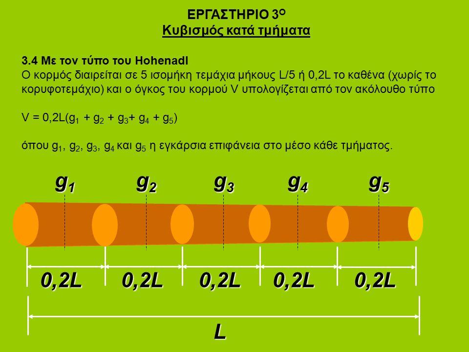ΕΡΓΑΣΤΗΡΙΟ 3 Ο Κυβισμός κατά τμήματα 3.4 Με τον τύπο του Hohenadl Ο κορμός διαιρείται σε 5 ισομήκη τεμάχια μήκους L/5 ή 0,2L το καθένα (χωρίς το κορυφοτεμάχιο) και ο όγκος του κορμού V υπολογίζεται από τον ακόλουθο τύπο V = 0,2L(g 1 + g 2 + g 3 + g 4 + g 5 ) όπου g 1, g 2, g 3, g 4 και g 5 η εγκάρσια επιφάνεια στο μέσο κάθε τμήματος.