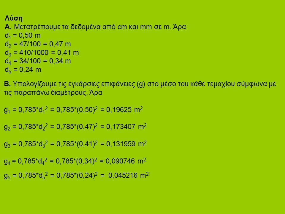 Λύση Α. Μετατρέπουμε τα δεδομένα από cm και mm σε m. Άρα d 1 = 0,50 m d 2 = 47/100 = 0,47 m d 3 = 410/1000 = 0,41 m d 4 = 34/100 = 0,34 m d 5 = 0,24 m