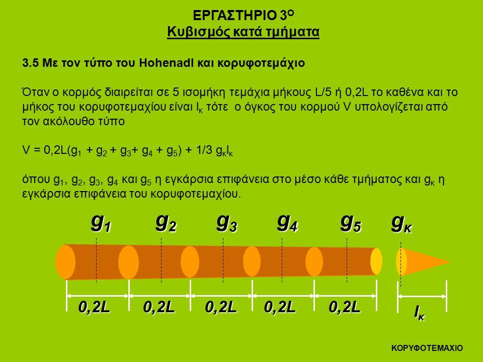 ΕΡΓΑΣΤΗΡΙΟ 3 Ο Κυβισμός κατά τμήματα 3.5 Με τον τύπο του Hohenadl και κορυφοτεμάχιο Όταν ο κορμός διαιρείται σε 5 ισομήκη τεμάχια μήκους L/5 ή 0,2L το καθένα και το μήκος του κορυφοτεμαχίου είναι l κ τότε ο όγκος του κορμού V υπολογίζεται από τον ακόλουθο τύπο V = 0,2L(g 1 + g 2 + g 3 + g 4 + g 5 ) + 1/3 g κ l κ όπου g 1, g 2, g 3, g 4 και g 5 η εγκάρσια επιφάνεια στο μέσο κάθε τμήματος και g κ η εγκάρσια επιφάνεια του κορυφοτεμαχίου.