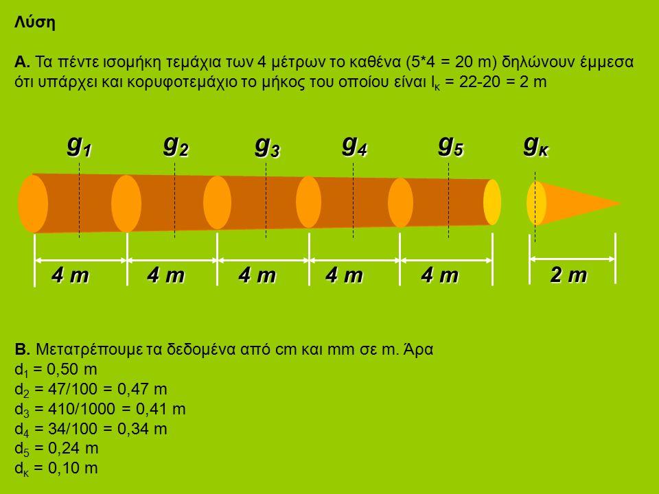 Λύση Α. Τα πέντε ισομήκη τεμάχια των 4 μέτρων το καθένα (5*4 = 20 m) δηλώνουν έμμεσα ότι υπάρχει και κορυφοτεμάχιο το μήκος του οποίου είναι l κ = 22-