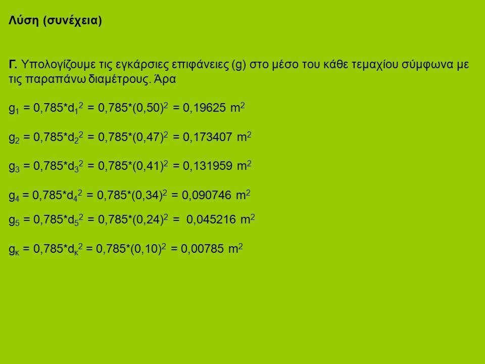 Λύση (συνέχεια) Γ. Υπολογίζουμε τις εγκάρσιες επιφάνειες (g) στο μέσο του κάθε τεμαχίου σύμφωνα με τις παραπάνω διαμέτρους. Άρα g 1 = 0,785*d 1 2 = 0,