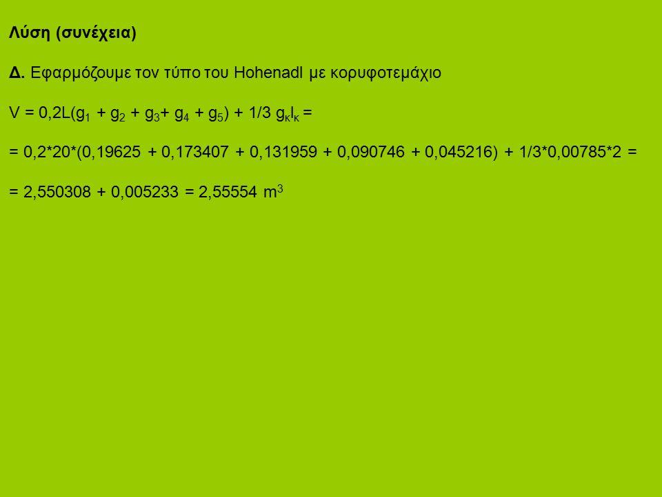 Λύση (συνέχεια) Δ. Εφαρμόζουμε τον τύπο του Hohenadl με κορυφοτεμάχιο V = 0,2L(g 1 + g 2 + g 3 + g 4 + g 5 ) + 1/3 g κ l κ = = 0,2*20*(0,19625 + 0,173