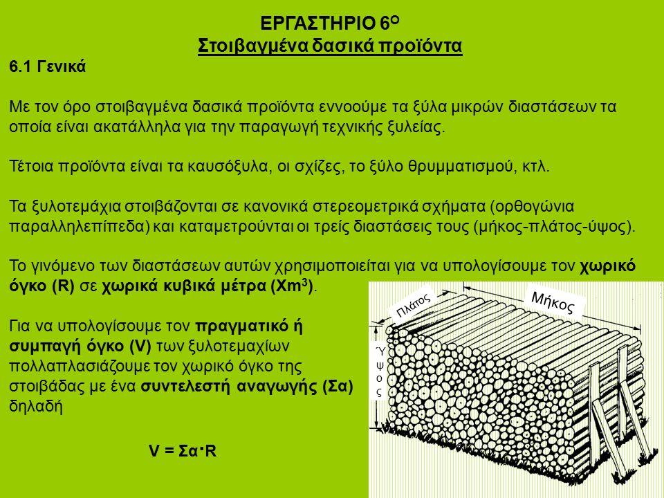ΕΡΓΑΣΤΗΡΙΟ 6 Ο Στοιβαγμένα δασικά προϊόντα 6.1 Γενικά Με τον όρο στοιβαγμένα δασικά προϊόντα εννοούμε τα ξύλα μικρών διαστάσεων τα οποία είναι ακατάλλ