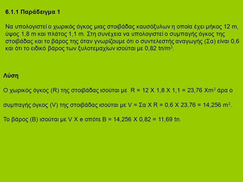 6.1.1 Παράδειγμα 1 Να υπολογιστεί ο χωρικός όγκος μιας στοιβάδας καυσόξυλων η οποία έχει μήκος 12 m, ύψος 1,8 m και πλάτος 1,1 m. Στη συνέχεια να υπολ