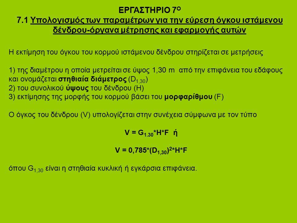 ΕΡΓΑΣΤΗΡΙΟ 7 Ο 7.1 Υπολογισμός των παραμέτρων για την εύρεση όγκου ιστάμενου δένδρου-όργανα μέτρησης και εφαρμογής αυτών Η εκτίμηση του όγκου του κορμ