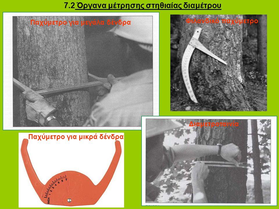 7.2 Όργανα μέτρησης στηθιαίας διαμέτρου Παχύμετρο για μεγάλα δένδρα Παχύμετρο για μικρά δένδρα Διαμετροταινία Φιλανδικό παχύμετρο