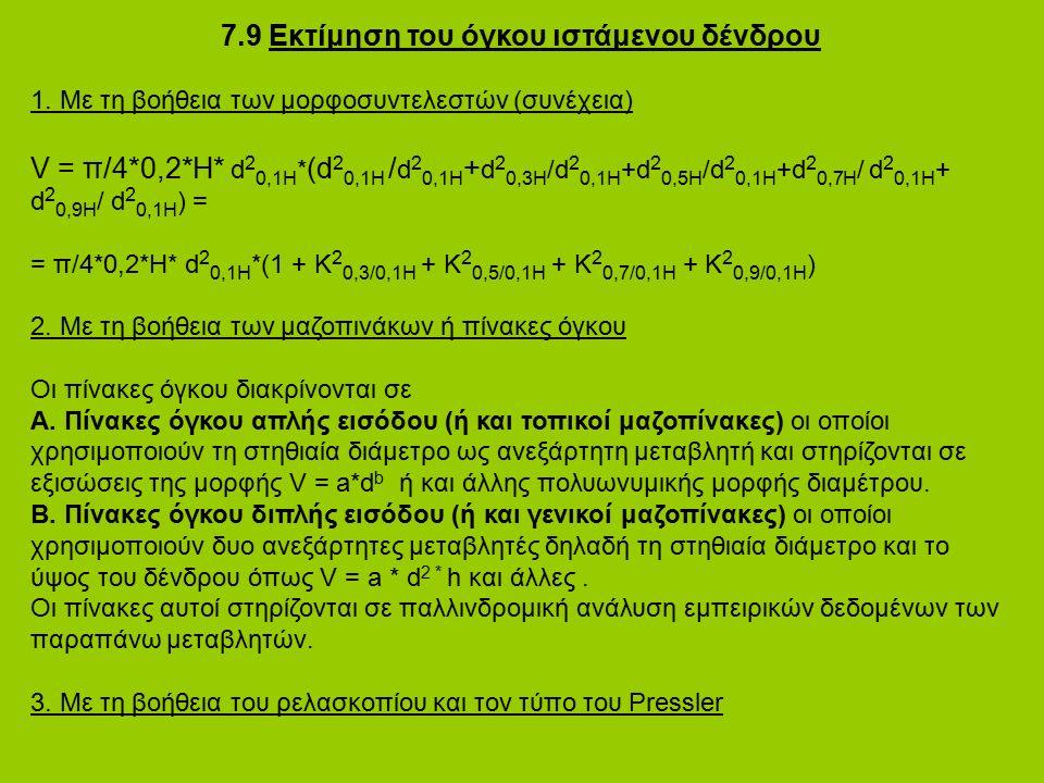 7.9 Εκτίμηση του όγκου ιστάμενου δένδρου 1. Με τη βοήθεια των μορφοσυντελεστών (συνέχεια) V = π/4*0,2*H* d 2 0,1H * (d 2 0,1H / d 2 0,1H + d 2 0,3H /d