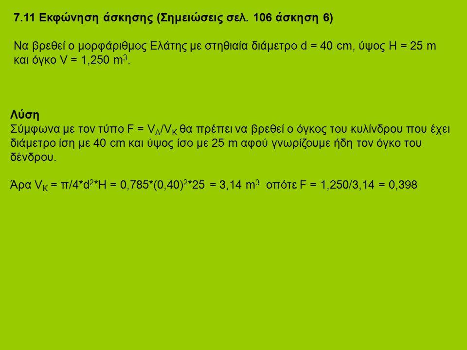 7.11 Εκφώνηση άσκησης (Σημειώσεις σελ. 106 άσκηση 6) Να βρεθεί ο μορφάριθμος Ελάτης με στηθιαία διάμετρο d = 40 cm, ύψος H = 25 m και όγκο V = 1,250 m