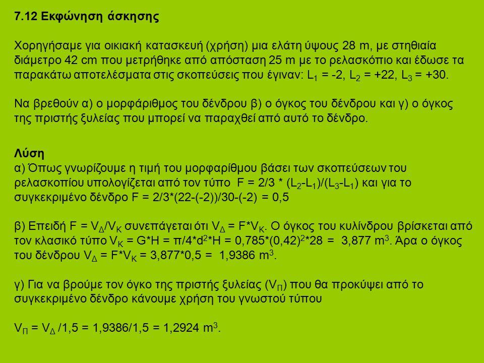 7.12 Εκφώνηση άσκησης Χορηγήσαμε για οικιακή κατασκευή (χρήση) μια ελάτη ύψους 28 m, με στηθιαία διάμετρο 42 cm που μετρήθηκε από απόσταση 25 m με το ρελασκόπιο και έδωσε τα παρακάτω αποτελέσματα στις σκοπεύσεις που έγιναν: L 1 = -2, L 2 = +22, L 3 = +30.