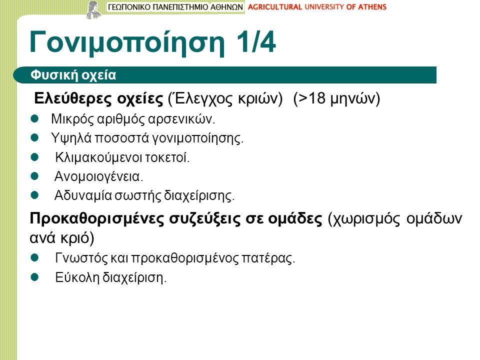 Γονιμοποίηση 1/4 Φυσική οχεία Ελεύθερες οχείες (Έλεγχος κριών) (>18 μηνών) Μικρός αριθμός αρσενικών.