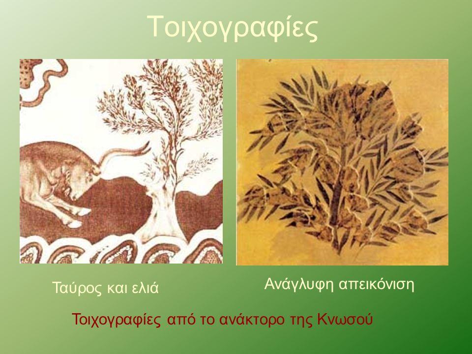 Τοιχογραφίες Ταύρος και ελιά Ανάγλυφη απεικόνιση Τοιχογραφίες από το ανάκτορο της Κνωσού