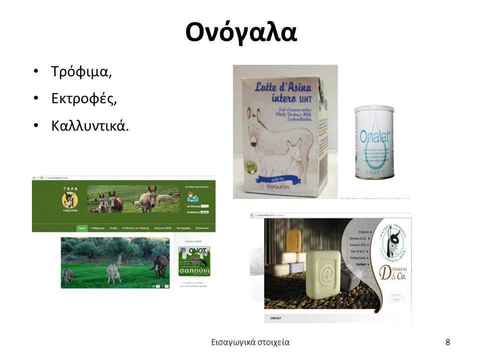 Ονόγαλα Τρόφιμα, Εκτροφές, Καλλυντικά. Εισαγωγικά στοιχεία 8