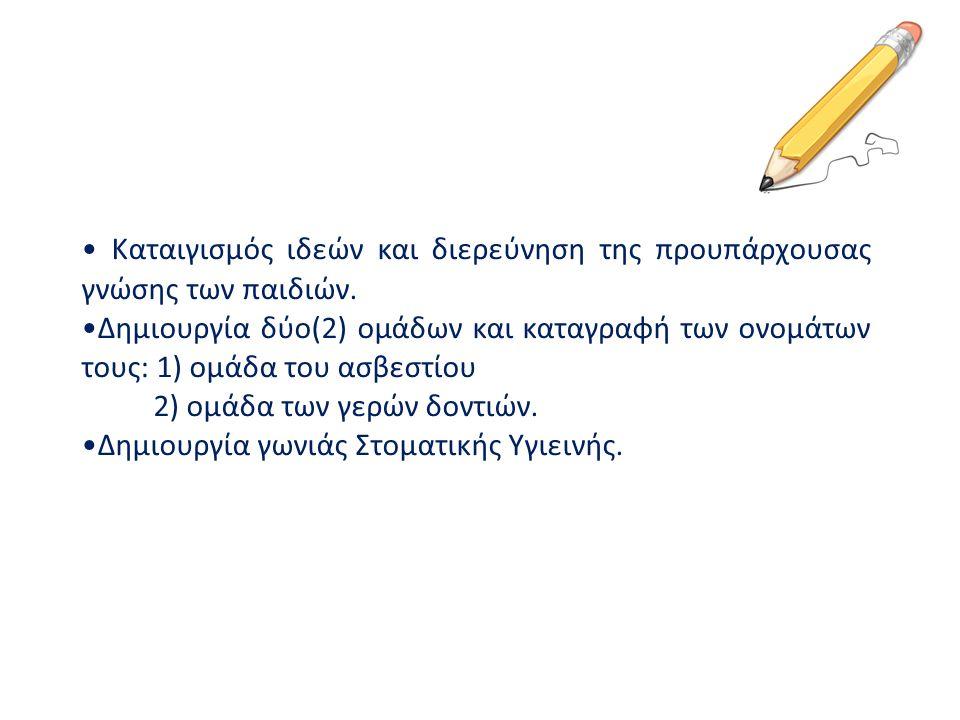 Καταιγισμός ιδεών και διερεύνηση της προυπάρχουσας γνώσης των παιδιών. Δημιουργία δύο(2) ομάδων και καταγραφή των ονομάτων τους: 1) ομάδα του ασβεστίο