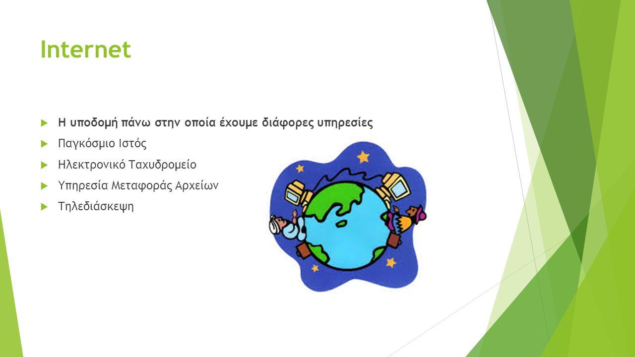 Internet  Η υποδομή πάνω στην οποία έχουμε διάφορες υπηρεσίες  Παγκόσμιο Ιστός  Ηλεκτρονικό Ταχυδρομείο  Υπηρεσία Μεταφοράς Αρχείων  Τηλεδιάσκεψη
