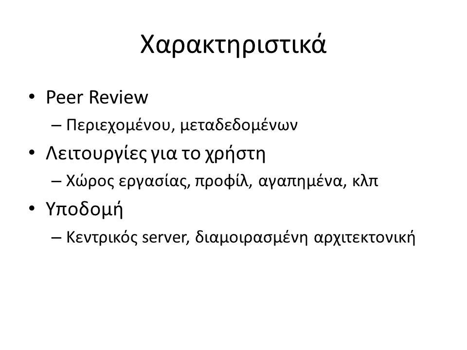 Χαρακτηριστικά Peer Review – Περιεχομένου, μεταδεδομένων Λειτουργίες για το χρήστη – Χώρος εργασίας, προφίλ, αγαπημένα, κλπ Υποδομή – Κεντρικός server, διαμοιρασμένη αρχιτεκτονική