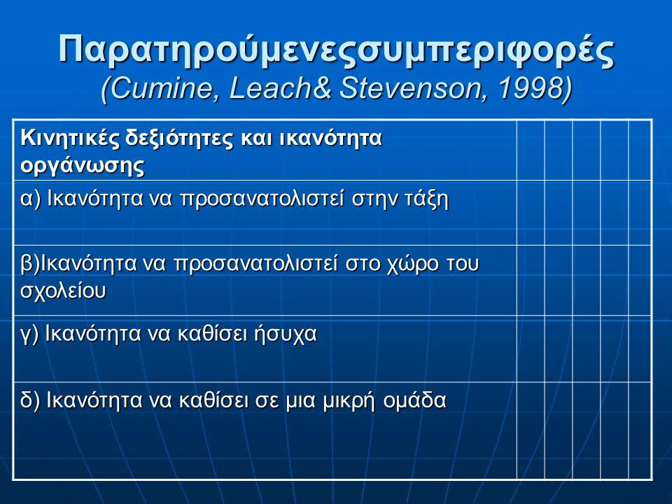 Παρατηρούμενεςσυμπεριφορές (Cumine, Leach& Stevenson, 1998) Κινητικές δεξιότητες και ικανότητα οργάνωσης α) Ικανότητα να προσανατολιστεί στην τάξη β)Ικανότητα να προσανατολιστεί στο χώρο του σχολείου γ) Ικανότητα να καθίσει ήσυχα δ) Ικανότητα να καθίσει σε μια μικρή ομάδα
