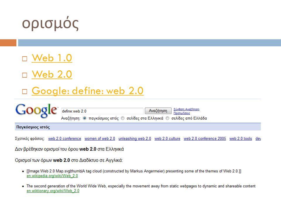 Εφαρμογές  Εργαλεία οργάνωσης και διαμοιρασμού συνδέσμων (De.li.ci.ous)  Β logs (Blogger, wordpress)  Wikis (wikispaces)  RSS (Google reader)  Διαμοιρασμός Multimedia: slideshare, flickr, vodpod  Εργαλεία κοινωνικής δικτύωσης : Ning  Comics: Toondo  Quizlet, flowgram, voicethread