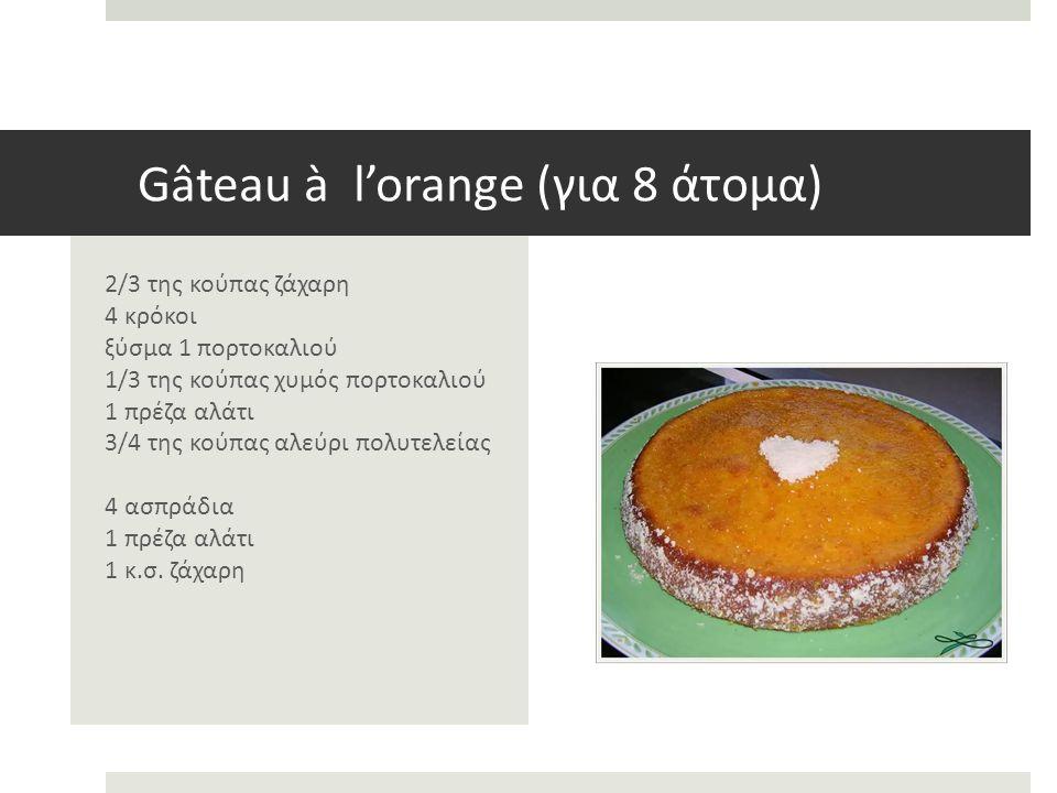 Gâteau à l'orange (για 8 άτομα) 2/3 της κούπας ζάχαρη 4 κρόκοι ξύσμα 1 πορτοκαλιού 1/3 της κούπας χυμός πορτοκαλιού 1 πρέζα αλάτι 3/4 της κούπας αλεύρι πολυτελείας 4 ασπράδια 1 πρέζα αλάτι 1 κ.σ.