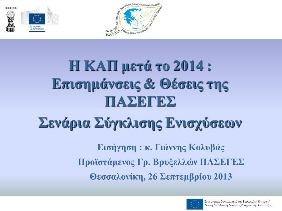 Μεθοδολογία, επιλογές Ενδεικτική διάρθρωση άμεσων ενισχύσεων ΚΑΠ 2014-2020 Επιλογές, Σύγκλιση (Εκατ.