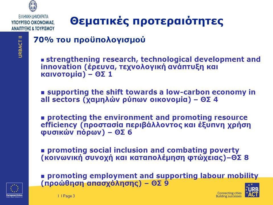 I I Page 4 URBACT III – ΔΙΚΤΥΑ 3 τύποι δικτύων  Δίκτυα σχεδιασμού δράσης (Action Planning)  Δίκτυα εφαρμογής δράσεων (Implementation)  Δίκτυα μεταφοράς πρακτικών (Transfer) Δικαιούχοι: πόλεις, δήμοι ανεξαρτήτως μεγέθους, δημοτικές κοινότητες, μητροπολιτικές περιοχές (1 η φάση) Τοπικοί οργανισμοί/φορείς, Περιφερειακές και εθνικές αρχές, Πανεπιστήμια & ερευνητικά κέντρα (2η φάση) δημόσιοι φορείς ή νομικά πρόσωπα δημοσίου δικαίου