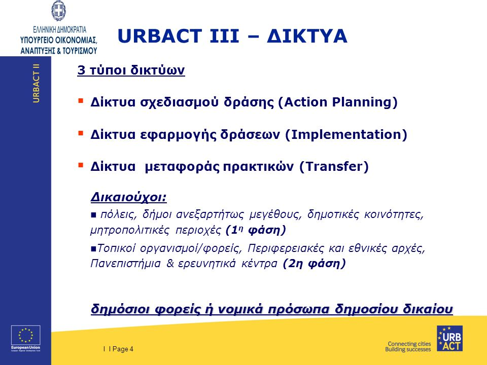 I I Page 4 URBACT III – ΔΙΚΤΥΑ 3 τύποι δικτύων  Δίκτυα σχεδιασμού δράσης (Action Planning)  Δίκτυα εφαρμογής δράσεων (Implementation)  Δίκτυα μεταφ