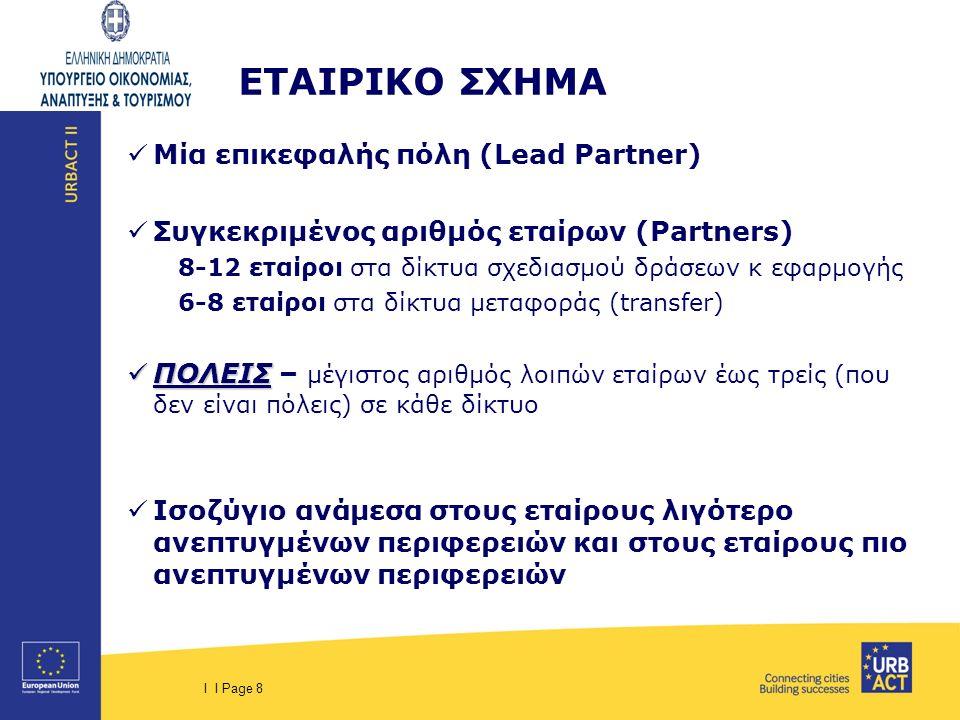 I I Page 8 ΕΤΑΙΡΙΚΟ ΣΧΗΜΑ Μία επικεφαλής πόλη (Lead Partner) Συγκεκριμένος αριθμός εταίρων (Partners) 8-12 εταίροι στα δίκτυα σχεδιασμού δράσεων κ εφαρμογής 6-8 εταίροι στα δίκτυα μεταφοράς (transfer) ΠΟΛΕΙΣ ΠΟΛΕΙΣ – μέγιστος αριθμός λοιπών εταίρων έως τρείς (που δεν είναι πόλεις) σε κάθε δίκτυο Ισοζύγιο ανάμεσα στους εταίρους λιγότερο ανεπτυγμένων περιφερειών και στους εταίρους πιο ανεπτυγμένων περιφερειών