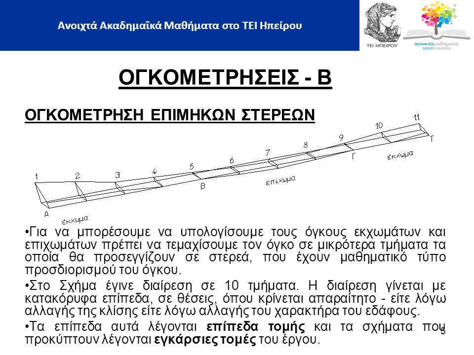 ΟΓΚΟΜΕΤΡΗΣΕΙΣ - Β ΟΓΚΟΜΕΤΡΗΣΗ ΕΠΙΜΗΚΩΝ ΣΤΕΡΕΩΝ ΜΕΘΟΔΟΣ ΤΟΥ SIMPSON  Ο όγκος του είναι:  Ο τύπος του Simpson εφαρμόζεται για τον υπολογισμό του όγκου μεταξύ τριών διατομών με εμβαδά Ε1, Ε2, Ε3, που ισαπέχουν κατά απόσταση L.