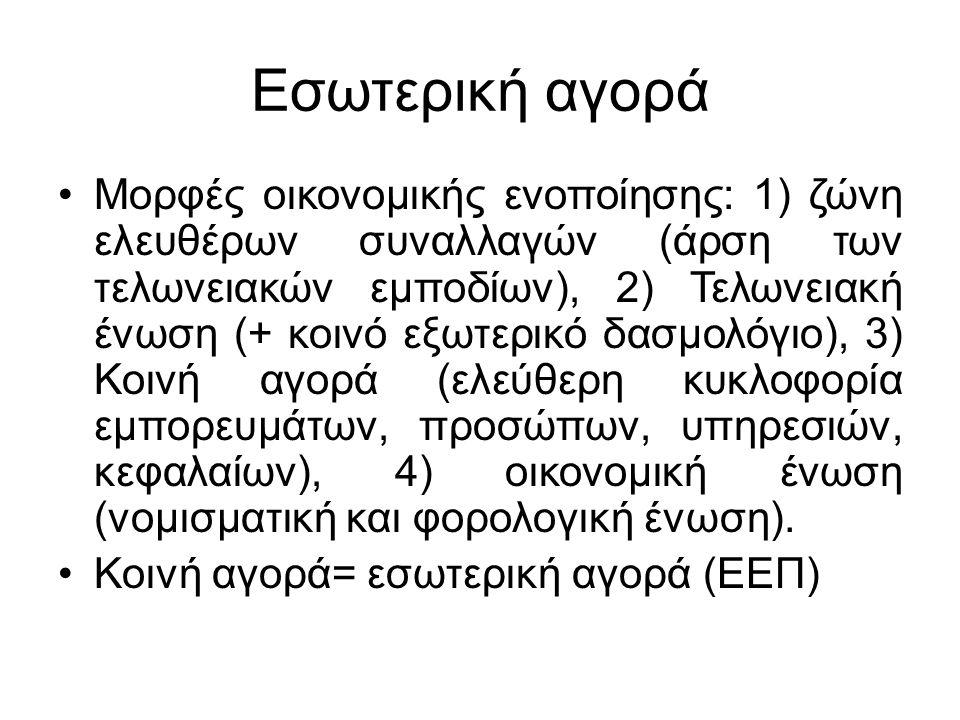 Εσωτερική αγορά Μορφές οικονομικής ενοποίησης: 1) ζώνη ελευθέρων συναλλαγών (άρση των τελωνειακών εμποδίων), 2) Τελωνειακή ένωση (+ κοινό εξωτερικό δα