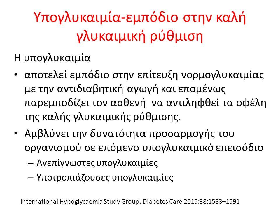 Υπογλυκαιμία-εμπόδιο στην καλή γλυκαιμική ρύθμιση Η υπογλυκαιμία αποτελεί εμπόδιο στην επίτευξη νορμογλυκαιμίας με την αντιδιαβητική αγωγή και επομένω