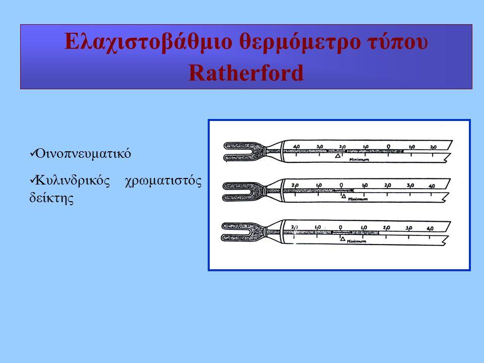 Ελαχιστοβάθμιο θερμόμετρο τύπου Ratherford Οινοπνευματικό Κυλινδρικός χρωματιστός δείκτης