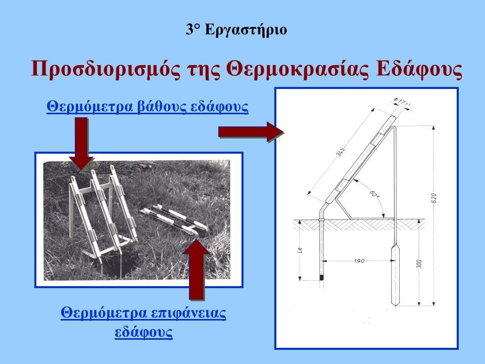 Προσδιορισμός της Θερμοκρασίας Εδάφους 3° Εργαστήριο Θερμόμετρα επιφάνειας εδάφους Θερμόμετρα βάθους εδάφους