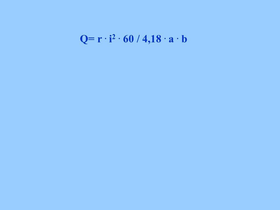 Q= r. i 2. 60 / 4,18. a. b