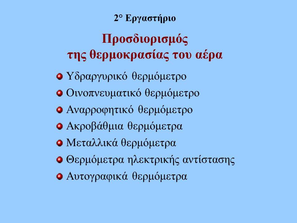 Προσδιορισμός της θερμοκρασίας του αέρα Υδραργυρικό θερμόμετρο Οινοπνευματικό θερμόμετρο Αναρροφητικό θερμόμετρο Ακροβάθμια θερμόμετρα Μεταλλικά θερμό